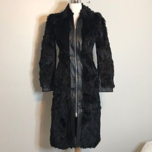 Bebe vintage black rabbit fur leather coat